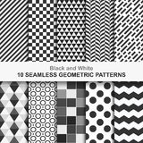 Set of vector geometric seamless patterns. 10 Seamless geometric vector patterns, black and white texture Vector Illustration