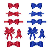 Set of vector gift bows isolated with ribbons Stock Photos