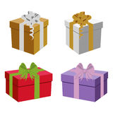 Set of vector gift boxes. Set of colorful vector gift boxes and ribbons Stock Photos