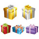 Set of vector gift boxes 2. Set of colorful vector gift boxes and ribbons 2 Royalty Free Stock Photos