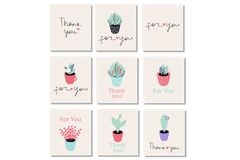 Set of 9 vector gift cards with words ``Thank you`` and ``For you. `` and beautiful potted plants. Use for cards, stickers, tags, etc vector illustration