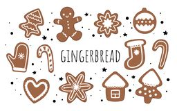Set of vector gingerbread. Ginger man, candy, Christmas tree, house, Christmas toy, mittens, heart and snowflake. vector illustration
