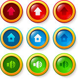 Set of vector glass buttons. With arrow, home and sound icons Stock Photo