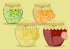 Set of Vector Glass Jars with Apple, Orange vector illustration