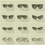 Set of vector glasses in vintage style Stock Photo