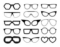 Set of vector glasses on white background, including  aviation and pixel style goggles. Royalty Free Stock Images