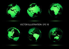 Set of vector globe icons. Royalty Free Stock Image