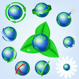 Set of vector globe icons showing earth Stock Image