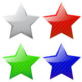 Set of vector glossy five-pointed stars. Of different colors stock illustration