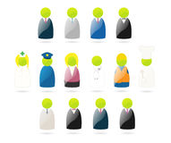 Set of vector glossy occupation icons Stock Photos