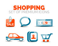Set of vector glossy shopping icons Royalty Free Stock Photos