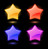 Set of vector glossy stars Stock Photos