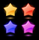 Set of vector glossy stars Stock Photos