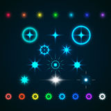 Set of Vector glowing light effect stars bursts with sparkles Stock Photography