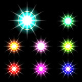 Set of Vector glowing special light effect star 3 Stock Photo