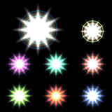 Set of Vector glowing special light effect star 6 Royalty Free Stock Image