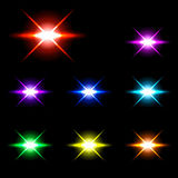 Set of Vector glowing special light effect star 2 Royalty Free Stock Images