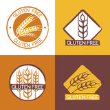 Set of vector gluten free product badges, labels, stickers. Royalty Free Stock Photo