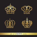 Set of vector gold crown icons. Logo royal design elements Stock Photography