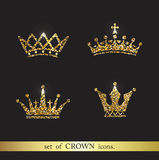 Set of vector gold crown icons. Logo royal design elements Stock Image
