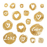 Set of vector gold foil circles with hand drawn hearts and lettering for Valentines Day Stock Photos