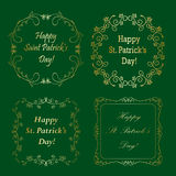 Set of vector gold frames for saint patrick`s day Royalty Free Stock Photos