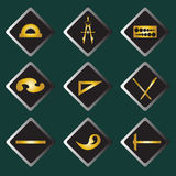 Set vector gold icons of drawing accessories Stock Photos