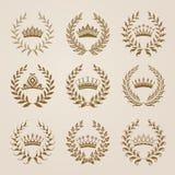 Set of Vector gold laurel wreaths Stock Images
