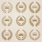 Set of Vector gold laurel wreaths Stock Image
