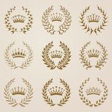 Set of Vector gold laurel wreaths Royalty Free Stock Photos