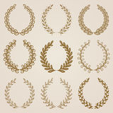 Set of Vector gold laurel wreaths Royalty Free Stock Images
