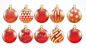 Set of vector gold and red christmas balls with ornaments. golden collection isolated realistic decorations. Vector illustration o stock illustration