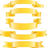 Set of vector gold ribbons. Stock Images