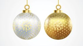 Set of vector gold and silver christmas balls with ornaments. collection isolated realistic decorations. Vector illustration on. White background stylized stock illustration