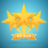 Set of Vector Gold Stars Icon. Best Seller Gold Star Icon Templa Stock Photography