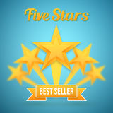 Set of Vector Gold Stars Icon. Five Stars Icon Template. Best Se Stock Photo