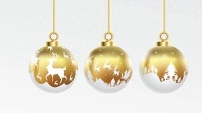 Set of vector gold and white christmas balls with ornaments. glossy collection isolated realistic decorations. Vector illustration royalty free illustration