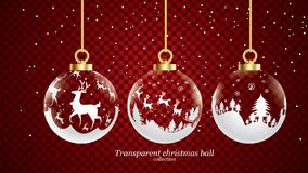Set of vector gold and white transparent christmas balls with ornaments. glass collection isolated realistic decorations. Vector stock illustration