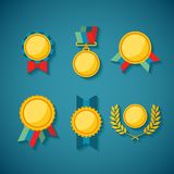 Set of vector golden awards for rewarding ceremony decoration and distinction Stock Photography