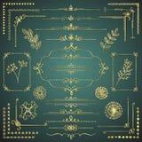 Set of Vector Golden Decorative Hand Drawn Design Elements Royalty Free Stock Photos