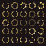 Set of vector golden laurel wreaths. Stock Image