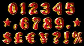 Set of vector golden numbers and currency symbols on black background. Royalty Free Stock Image