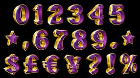 Set of vector golden numbers and currency symbols on black background. Royalty Free Stock Images