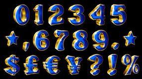 Set of vector golden numbers and currency symbols on black background. Stock Photo