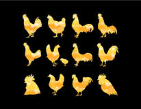 Set of vector golden rooster silhouette on black background. Can be use for Chinese calendar for the year 2017. Royalty Free Stock Photography