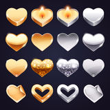 Set of Vector Golden and Silver Hearts. For Romantic Projects. Clipping paths included in additional jpg format royalty free illustration