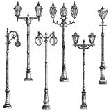 Set of vector illustrations drawing of lamppost. Set vector graphic arts sketch of drawing vintage artistic decorative lamppost black pen Royalty Free Stock Image