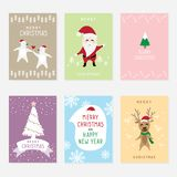 Set vector graphic cartoon card about Merry Christmas and Happy New Year royalty free illustration