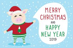 Set vector graphic cartoon card about Merry Christmas and Happy New Year vector illustration