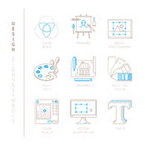 Set of vector graphic design icons and concepts in mono thin line style.  Royalty Free Stock Photo